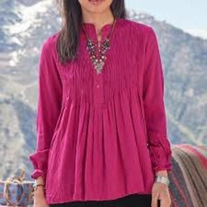 Sundance NEW Pintuck Button Raspberry Tunic Small